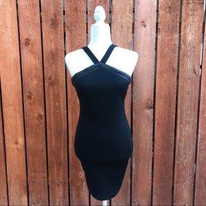 Gun Metal Detail Halter Little Black Dress - Med